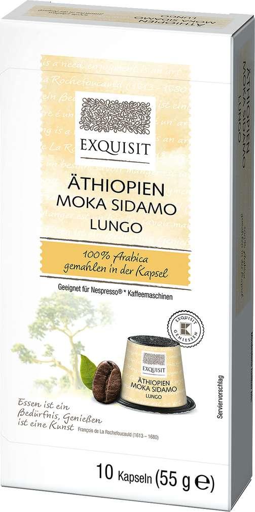 Abbildung des Sortimentsartikels Exquisit Äthiopien Moka Sidamo Lungo 10 Kapseln 55g