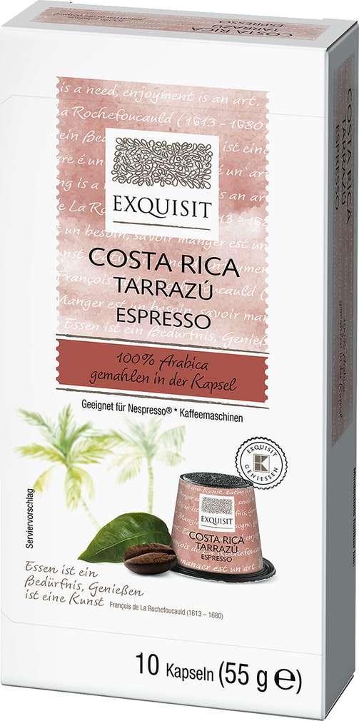 Abbildung des Sortimentsartikels Exquisit Costa Rica Tarrazu Espresso 10 Kapseln 55g