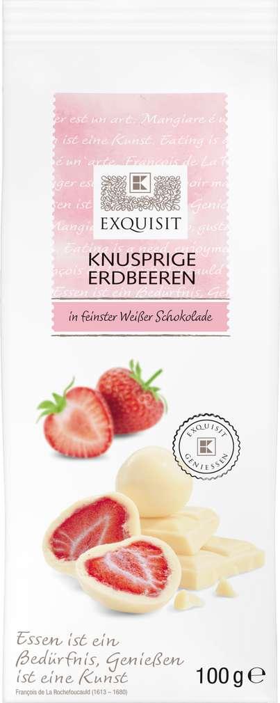 Abbildung des Sortimentsartikels Exquisit Knusprige Erdbeeren in Weißer Schokolade 100g