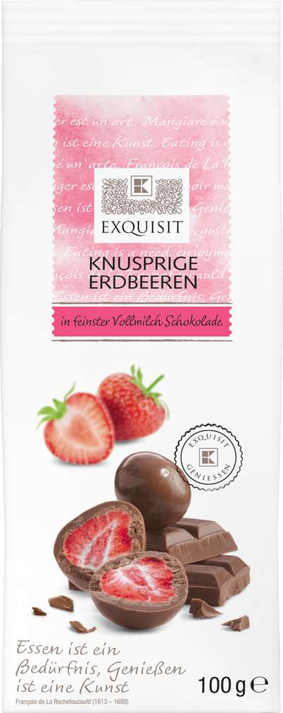 Abbildung des Sortimentsartikels Exquisit Knusprige Erdbeeren in Vollmilch Schokolade 100g