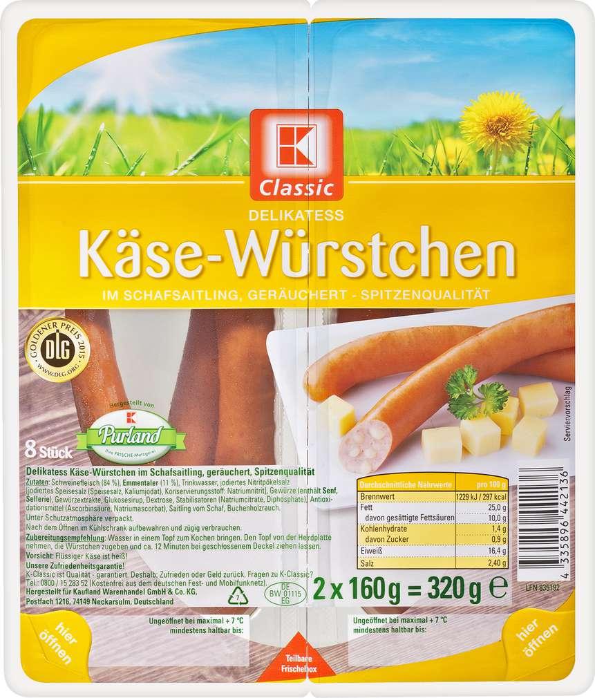 Abbildung des Sortimentsartikels K-Classic Käse-Würstchen 2x160g