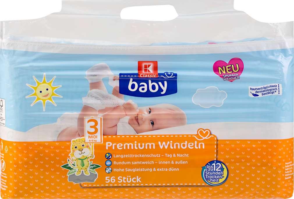 Abbildung des Sortimentsartikels K-Classic Baby Baby Premium Windeln Midi 56 Stück
