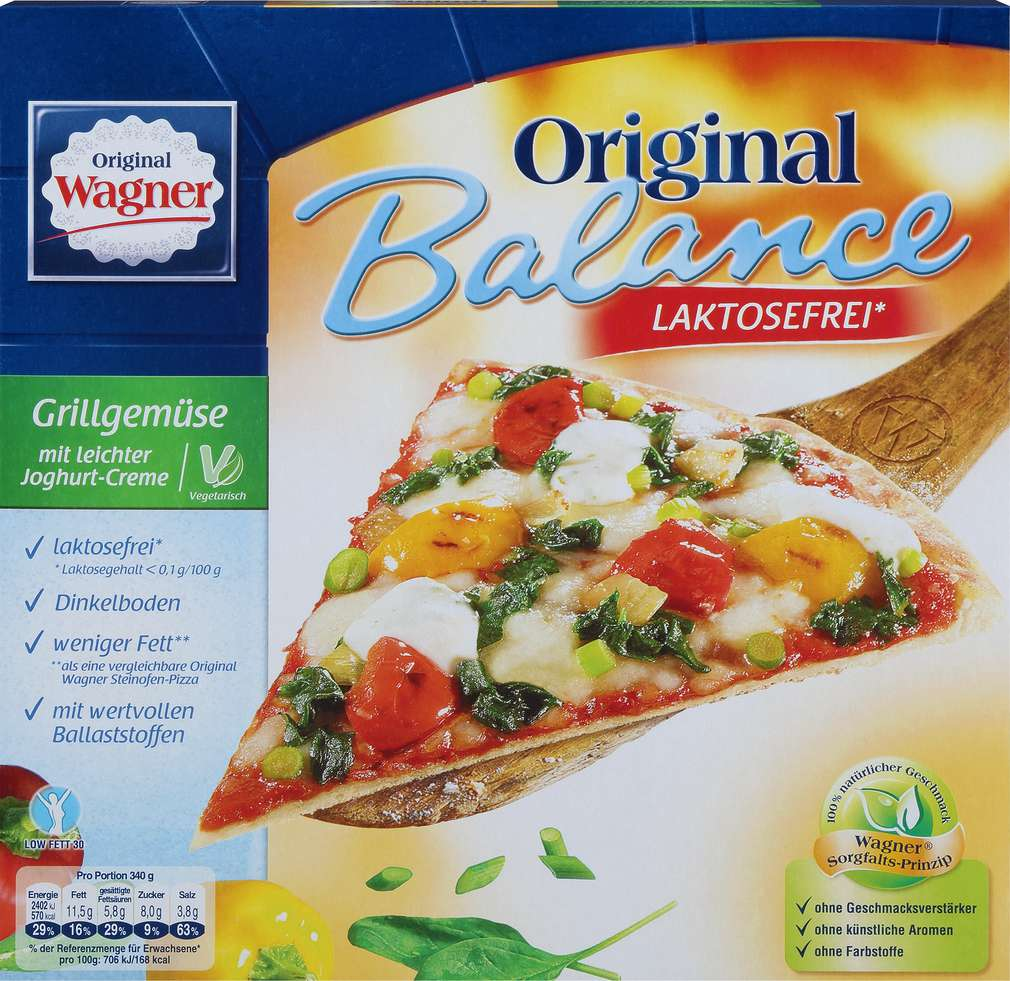 Abbildung des Sortimentsartikels Original Wagner Pizza Grillgemüse laktosefrei 340g