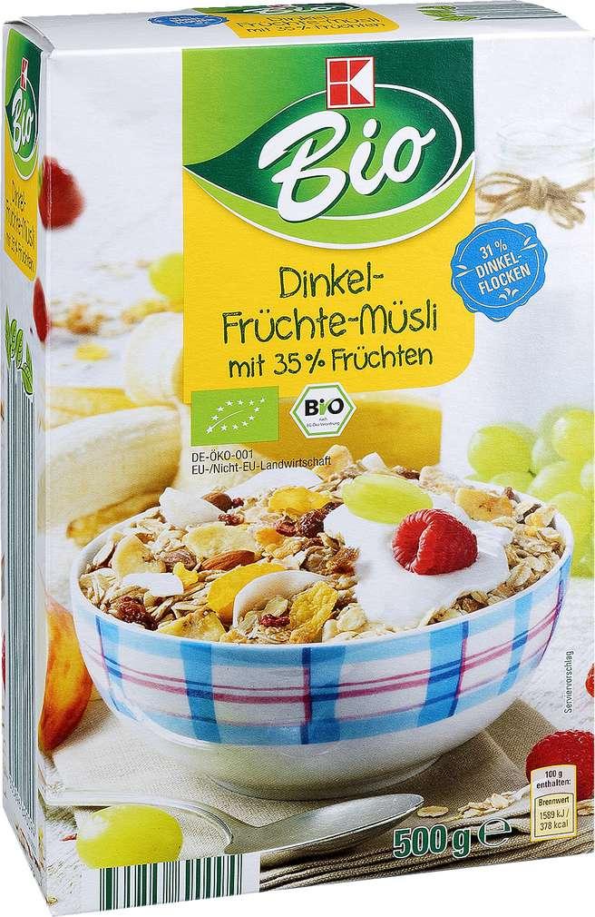 Abbildung des Sortimentsartikels K-Bio Dinkel-Früchte-Müsli 500g