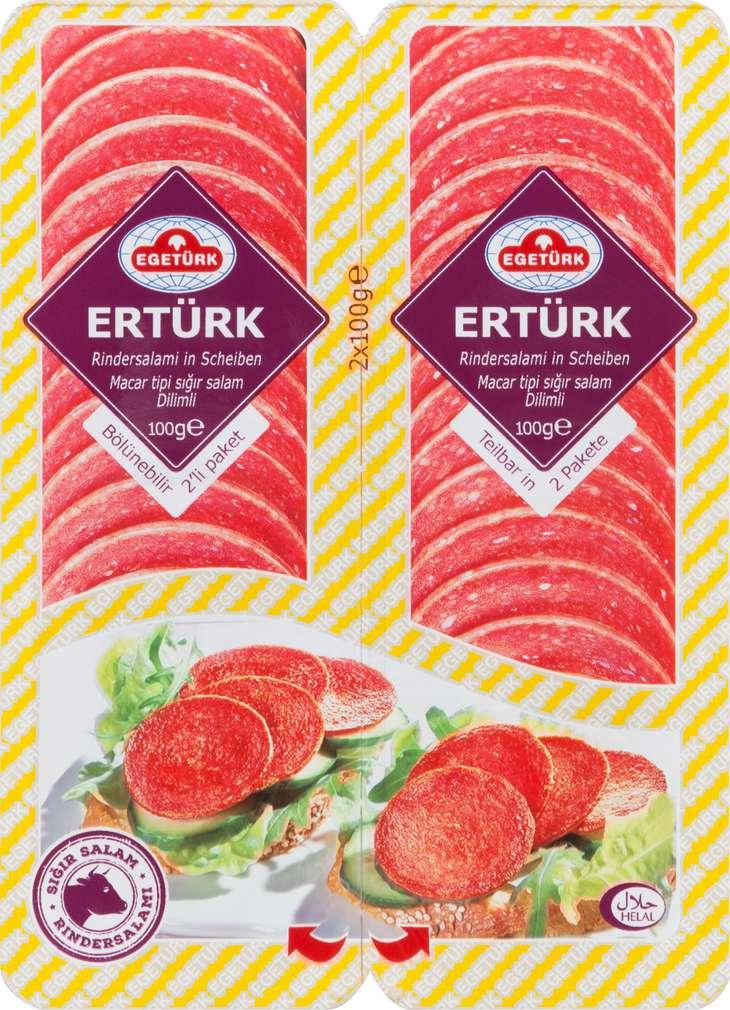 Abbildung des Sortimentsartikels Egetürk Ertürk Rindersalami in Scheiben 2x100g
