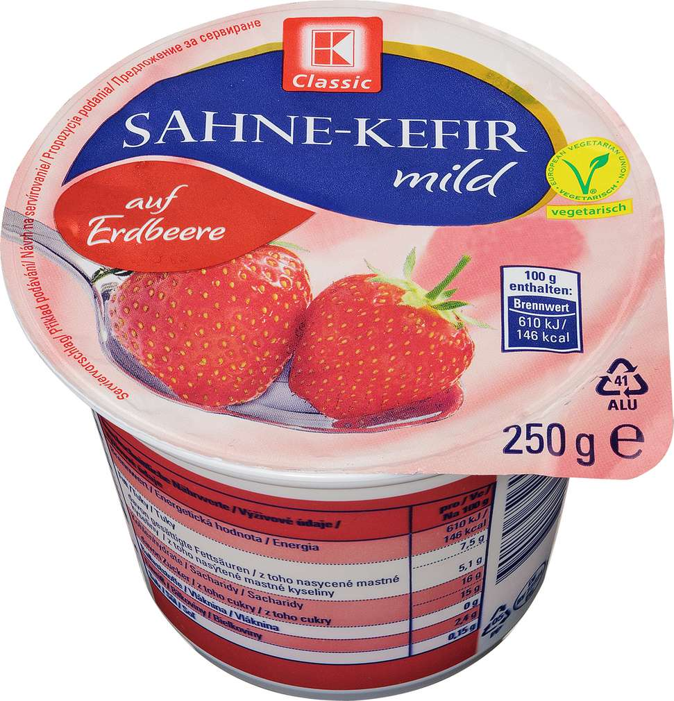 Abbildung des Sortimentsartikels K-Classic Sahne-Kefir mild auf Erdbeere 250g
