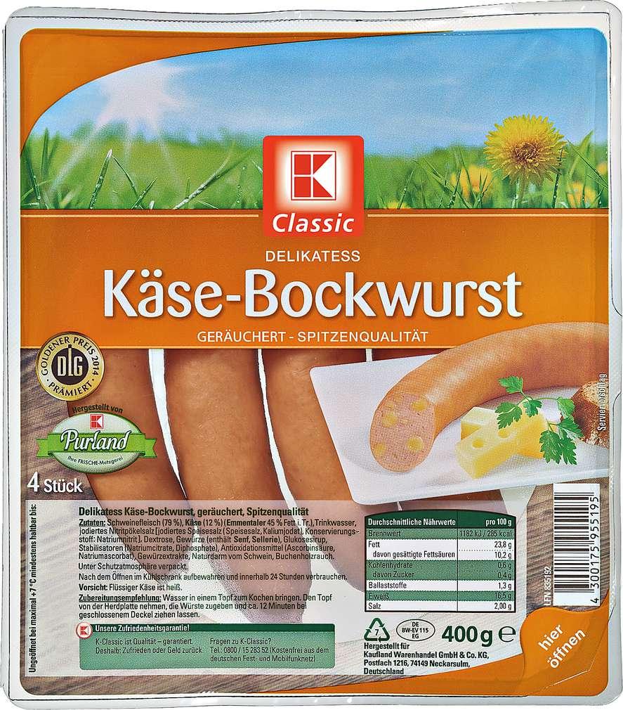 Abbildung des Sortimentsartikels K-Classic Käse-Bockwurst 400g, 4 Stück