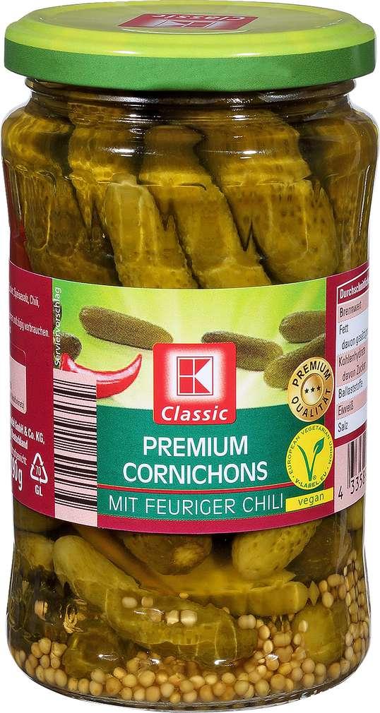 Abbildung des Sortimentsartikels K-Classic Premium Cornichons Chili 370ml