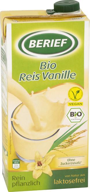 Abbildung des Sortimentsartikels Berief Bio-Reis-Drink Vanille 1 Liter