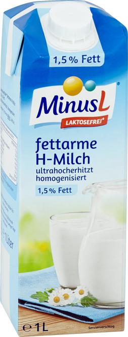 Abbildung des Sortimentsartikels MinusL Laktosefreie Milch 1,5 % 1l