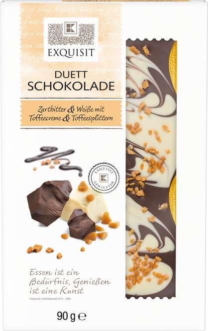 Abbildung des Sortimentsartikels E Duett Schokolade Zartbitter & Weiße 90g
