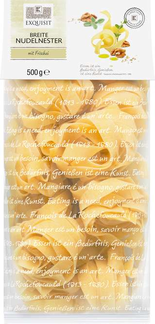 Abbildung des Sortimentsartikels Exquisit Breite Nudelnester 500g