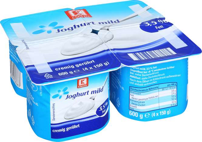Abbildung des Sortimentsartikels K-Classic Joghurt natur mild 3,5 % Fett 150g