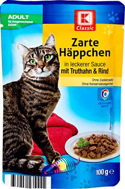 Abbildung des Sortimentsartikels K-Classic Zarte Häppchen in leckerer Sauce mit Truthan & Rind 100g