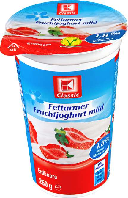 Abbildung des Sortimentsartikels K-Classic Fettarmer Joghurt Erdbeer 250g