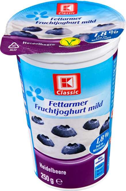 Abbildung des Sortimentsartikels K-Classic Fettarmer Joghurt Heidelbeer 250g