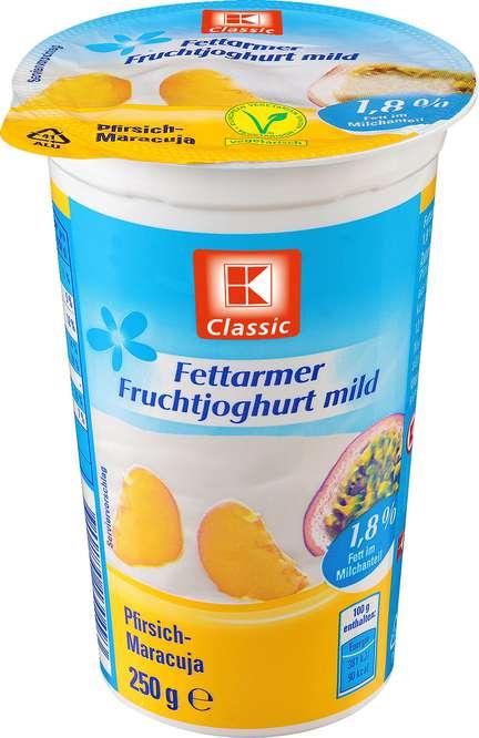 Abbildung des Sortimentsartikels K-Classic Fettarmer Joghurt Pfirsich-Maracuja 250g