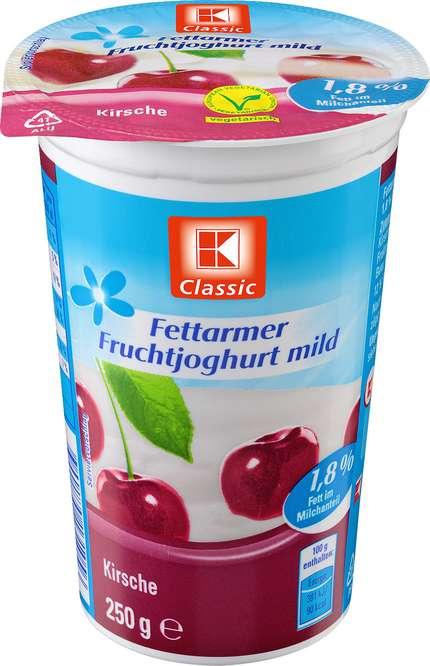 Abbildung des Sortimentsartikels K-Classic Fettarmer Joghurt Kirsch 250g