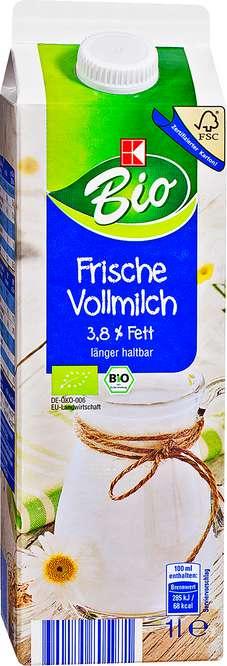 Abbildung des Sortimentsartikels K-Bio Frische Vollmilch 3,8% 1l