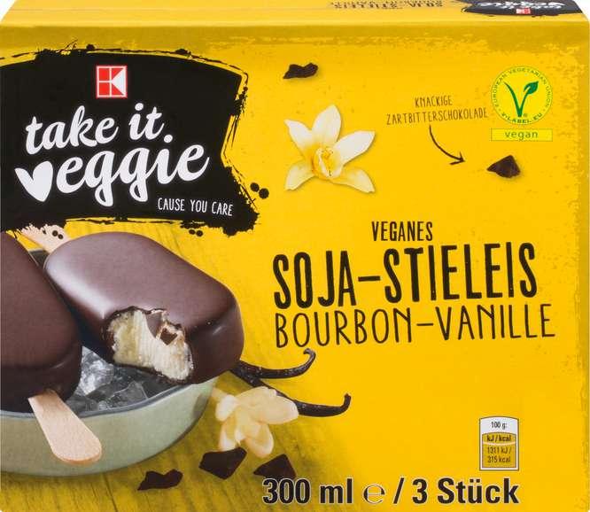 Abbildung des Sortimentsartikels K-Take it Veggie Soja-Stieleis Bourbon Vanille 300ml, 3 Stück