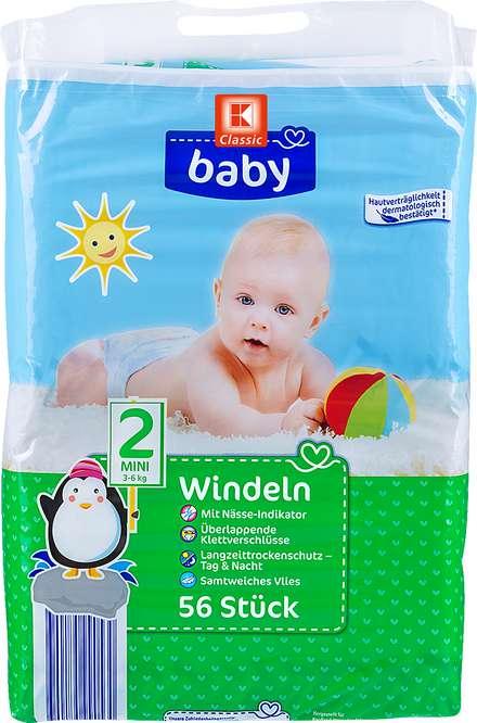 Abbildung des Sortimentsartikels K-Classic Baby Windeln Größe 2 mini 56 Stück