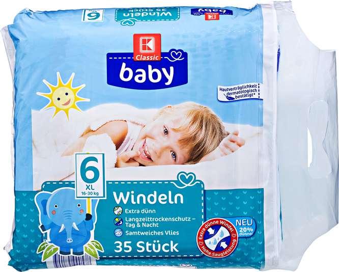 Abbildung des Sortimentsartikels K-Classic Baby Windeln XL 35 Stück