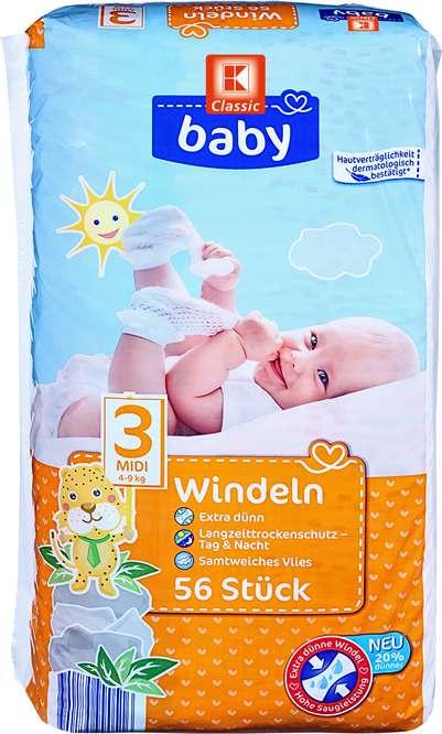 Abbildung des Sortimentsartikels K-Classic Baby Windeln midi 56 Stück