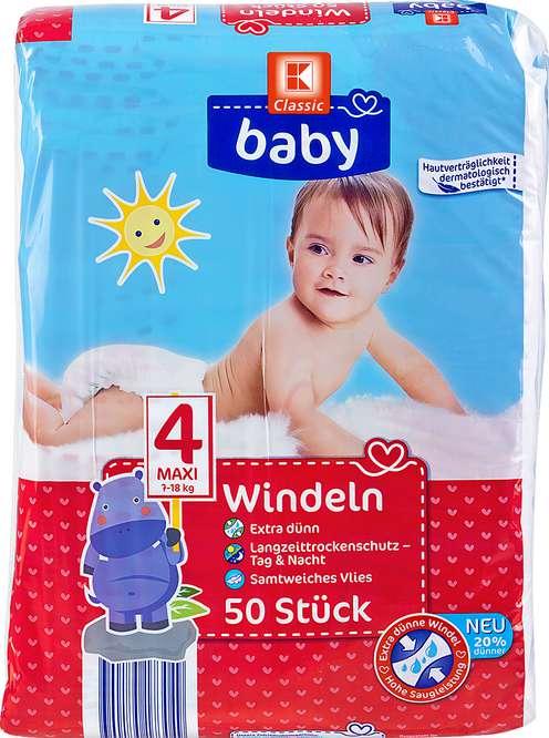 Abbildung des Sortimentsartikels K-Classic Baby Windeln Maxi 50 Stück