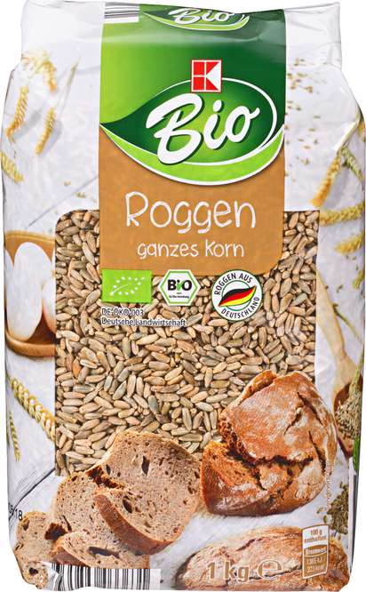 Abbildung des Sortimentsartikels K-Bio Roggen ganzes Korn 1kg