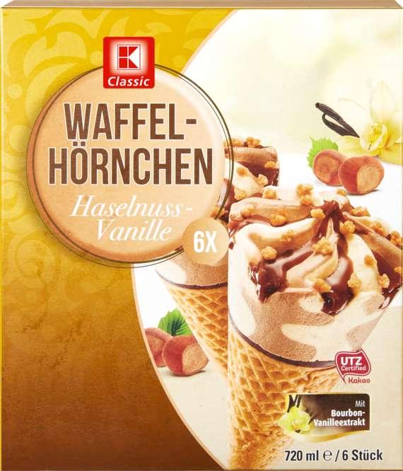 Abbildung des Sortimentsartikels K-Classic Waffelhörnchen Haselnuss-Vanille Eis 6x120ml