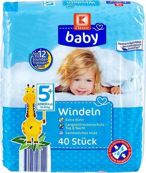 Abbildung des Sortimentsartikels K-Classic Baby Windeln Junior Plus 40 Stück