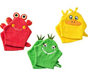 Abbildung des Angebots Kinder-Frottier- Waschhandschuhe Größe je ca. 16 x 21 cm